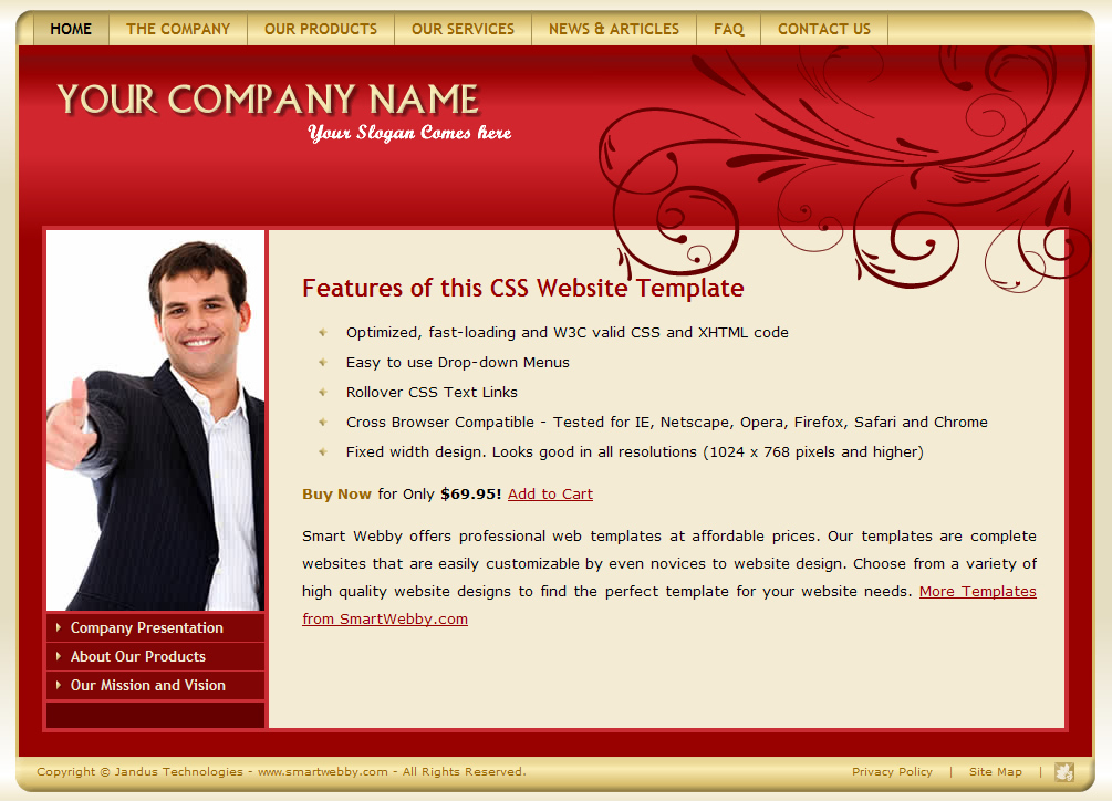 Dreamweaver Template 1101 [Business/General] - Actual Size Screenshot for 1024px screen width