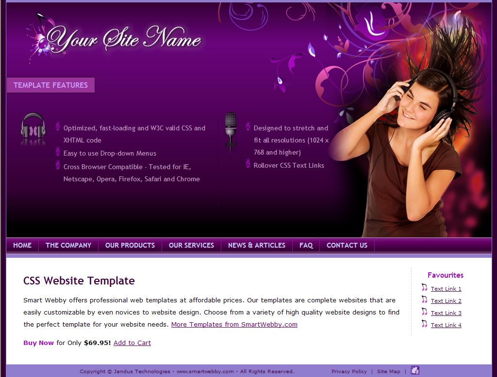 Dreamweaver Template 1131 [Personal/General] - Actual Size Screenshot for 1024px screen width