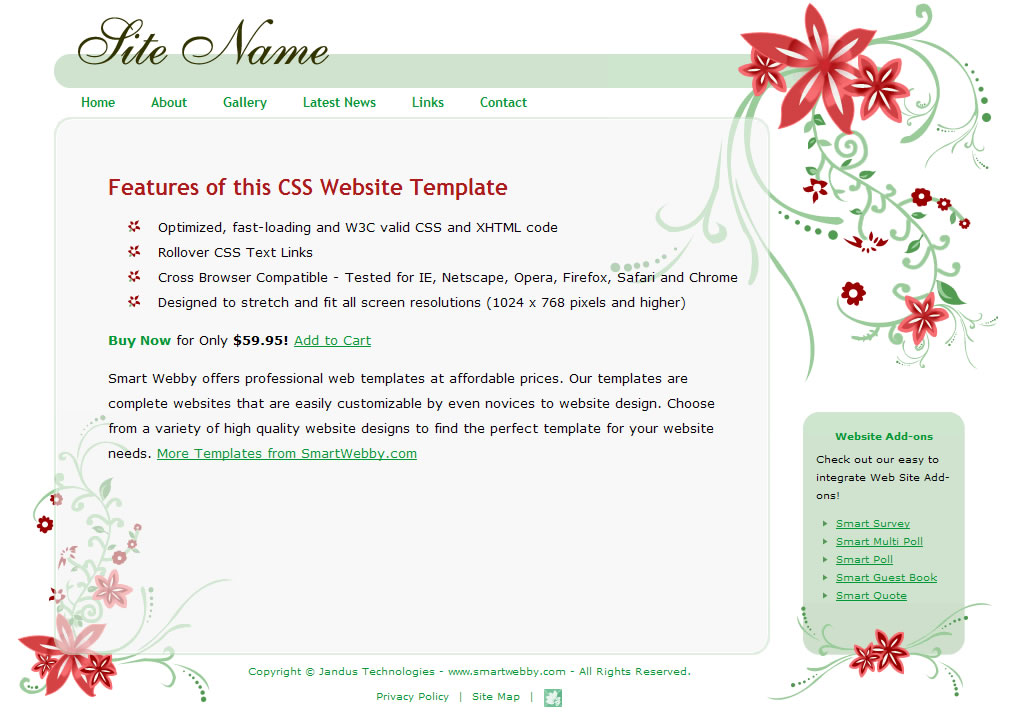 Dreamweaver Template 1151 [General] - Actual Size Screenshot for 1024px screen width