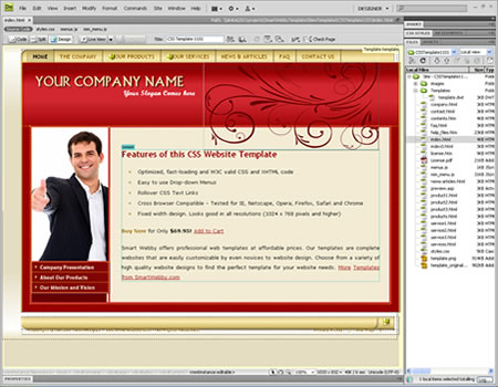 Template 1101 [Business/General] - Adobe Dreamweaver View
