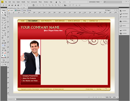 Template 1101 [Business/General] - Adobe Fireworks View